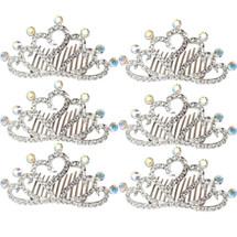 kilofly 6pc Princess Party Favor Crown Crystal Rhinestone Tiara Hair Comb Clip