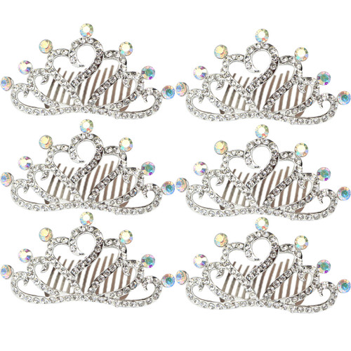 kilofly 6pc Princess Party Favor Crown Crystal Rhinestone Tiara Hair Comb Clip