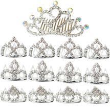 kilofly 13pc Princess Party Favor Crown Crystal Rhinestone Tiara Hair Comb Clip