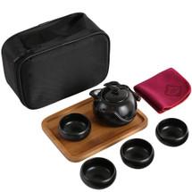 kilofly Chinese / Japanese Portable Tea Set - Teapot Cups Wooden Tray Travel Bag