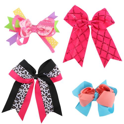 "kilofly Large Ribbon Boutique Hair Bows, Alligator Clip, 5""- 7"", Set of 4"