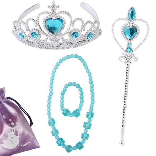kilofly Princess Party Favor Girls Birthday Jewelry Costume Set + Gift Pouch