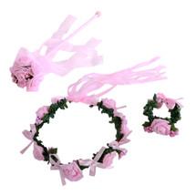 kilofly Flower Crown Wreath Headband Garland Wrist Band Wand + Drawstring Pouch