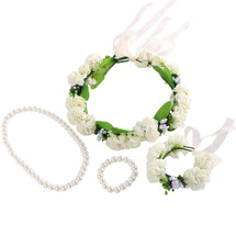 kilofly 4pc Flower Crown Wreath Headband Garland Wrist Band + Faux Pearl Jewelry