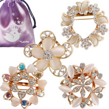 kilofly 4pc Women's Rhinestone Crystal Scarf Brooch Pin Rings Set + Gift Pouch