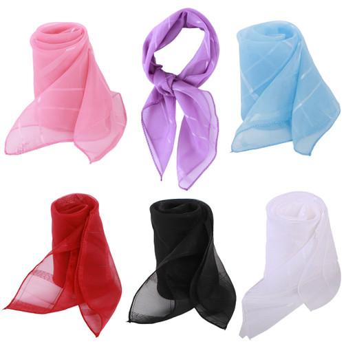 kilofly 6pc Women's Chiffon Pocket Square Neckerchief Handkerchief Purse Scarves