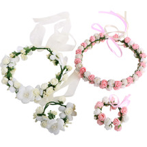 kilofly 2 Sets Flower Crown Wreath Headband Garland Floral Wrist Band Value Pack
