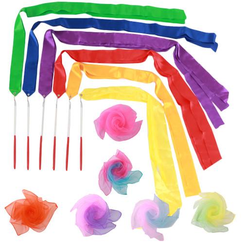 kilofly 6 Sets Kids Gymnastic Ribbon Wands + Athletic Dance Rainbow Scarves