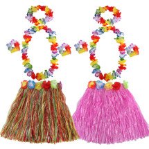kilofly 2 Sets Girls Elastic Hawaiian Dancer Grass Hula Skirt Floral Lei Costume