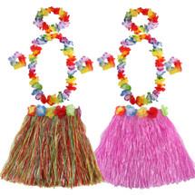 kilofly 2 Sets Girls Elastic Hawaiian Dancer Grass Hula Skirt Floral Lei Costume