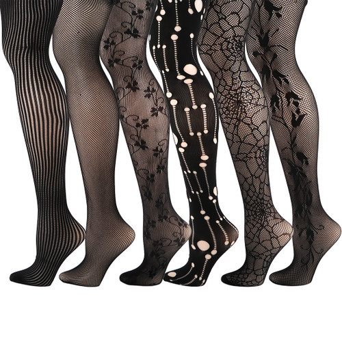 kilofly 6pc Women's Sexy Fishnet Pantyhose Sheer Lace Stocking Tights Value Pack