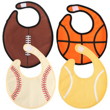 KF Baby 4pc Soft Waterproof 3 Layers Cotton Absorbent Wrap Sports Ball Bibs Set