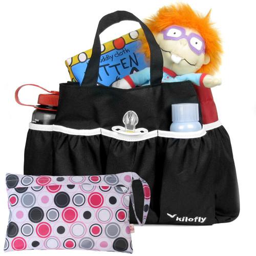 kilofly Diaper Bag Insert Organizer, Multiple Pockets, Black, + Wet Dry Bag Value Combo