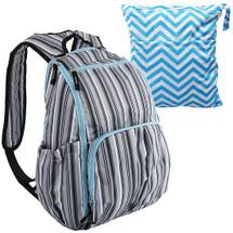 KF Baby Unisex Multi Pocket Travel Backpack Diaper Bag + Wet Dry Bag Value Set