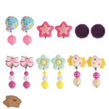 kilofly 6 Pairs Girls Princess Party Favor Jewelry Clip On Earrings Value Pack