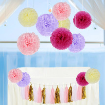 kilofly 27pc Party Decor Tissue Paper Pom Pom Tassels Garland Value Set
