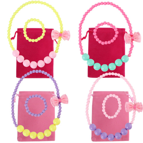 kilofly 4 Sets Princess Party Favors Girls Jewelry Value Pack + Gift Pouches