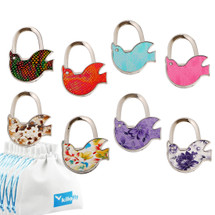 kilofly Purse Hook [Set of 8] - Foldable Dove Birds, with 8 kilofly Pouches