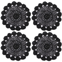 kilofly Crochet Cotton Lace Table Placemats Doilies Pack, 4pc, Black, 7 inch