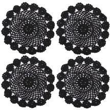 kilofly Crochet Cotton Lace Table Placemats Doilies Pack, 4pc, Black, 7 inch