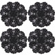 kilofly Crochet Cotton Lace Table Placemats Doilies Value Pack, 4pc, Rosary, Black, 12 inch