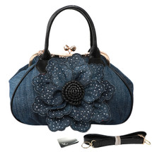 kilofly Women's Large Flower Denim Satchel Handbag Shoulder Bag with KF Money Clip