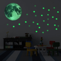 kilofly 2 Sets Glow in the Dark Luminous Moon Stars Wall Ceiling Decal Stickers