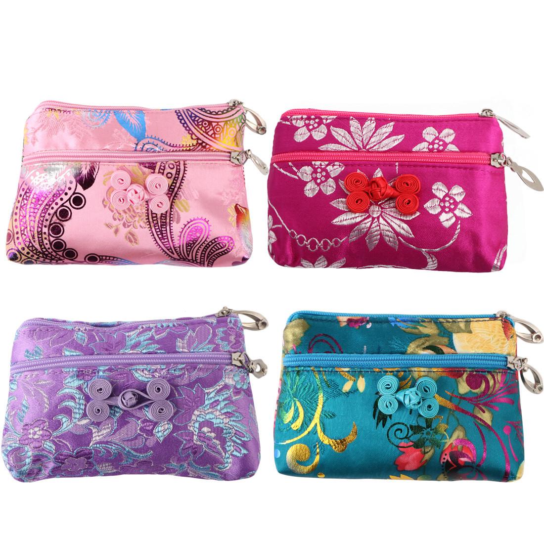 01a6ca64f41b kilofly 4pc Chinese Silk Brocade 2 Zipper Purse Jewelry Pouch Bag Value Set