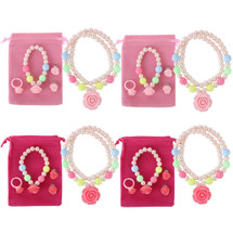 kilofly Princess Jewelry Value Set of 4, Necklace, Bracelet, Earrings, Ring