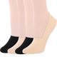kilofly 4 Pairs Women's Soft No Show Non-Skid Silicone Grip Cotton Liner Socks
