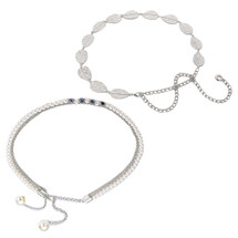 kilofly 2pc Women Elegant Silver Metal Thin Chain Clasp Skinny Belts Waist Bands