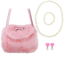 kilofly Little Girls Plush Purse Handbag Shoulder Bags + Faux Pearl Jewelry Set