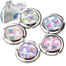 kilofly Purse Hook [Set of 5] Girls Foldable Butterfly Handbag Holder + KF Pouch