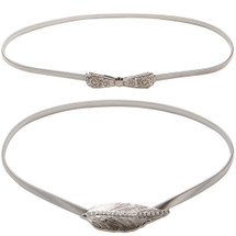 kilofly 2pc Women Elegant Silver Metal Thin Stretch Clasp Skinny Belt Waist Band