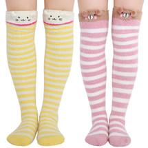 kilofly 2 Pairs Women's Soft Thick Warm Over Calf Knee High Animal Cartoon Socks