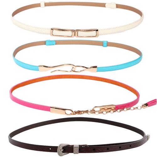 kilofly 4pc Women's Genuine Leather Adjustable Thin Skinny Belt Waistband Set