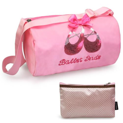 kilofly Ballerina Ballet Slippers Dance Bag + Handy Pouch