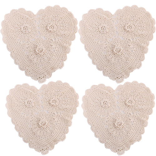 kilofly 4pc Heart Crochet Cotton Lace Table Placemat Handmade Doilies Value Pack