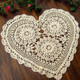kilofly 4pc Heart Crochet Cotton Lace Table Placemat Handmade Doilies Value Pack