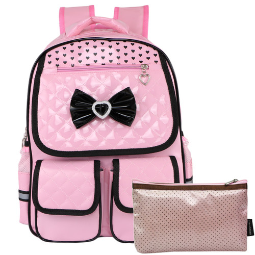 kilofly Girls PU Leather Laptop School Bag Travel Backpack + Zippered Pouch Set