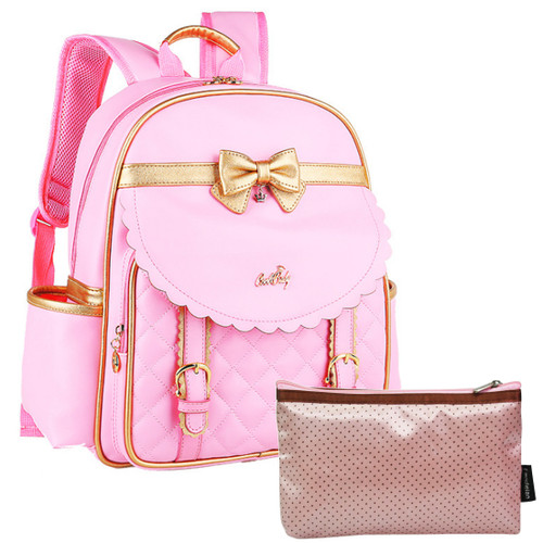 kilofly Girls PU Leather Padded School Bag Travel Backpack + Zippered Pouch Set