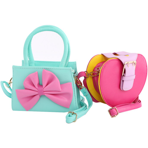 kilofly 2pc Little Girls Detachable Strap Clutch Handbag Shoulder Bag Combo Set