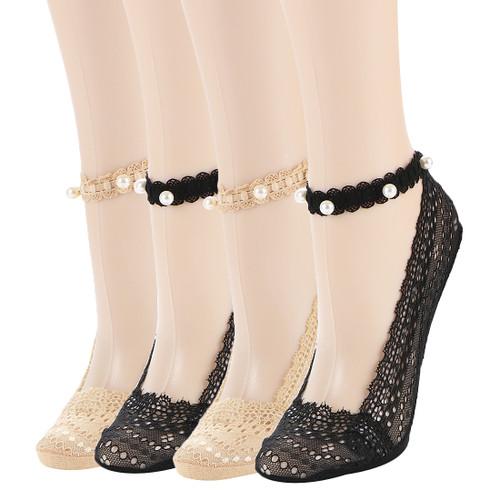 kilofly 4 Pairs Women's Elegant Ultra Thin Non Skid Faux Pearl Lace Liner Socks