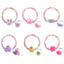 kilofly 6 Sets Princess Party Favors Girls Jewelry Rings Elastic Bracelets Pack
