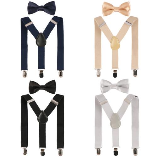 kilofly 4 Sets Boys Pre-tied Adjustable Neck Bow Ties + Elastic Suspenders Pack
