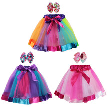 kilofly 3 Sets Girls Ballet Rainbow Tutu Princess Tulle Skirts with Hair Bows