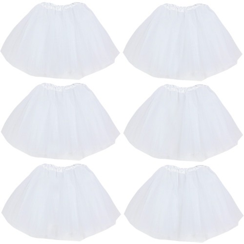 kilofly 6pc white Girls Ballet Tutu Kids Birthday Princess Party Favor Dress Skirt Set