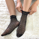 kilofly 5 Pairs Women Lace Fishnet Socks Ankle Dress Liner Stockings