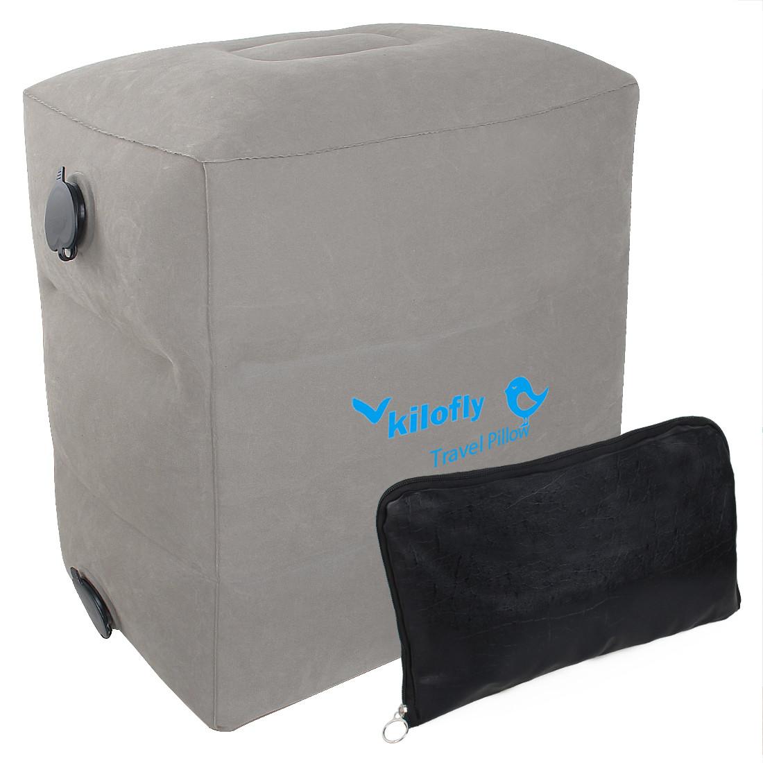 kilofly Inflatable Foot Rest Adjustable Height Car Plane Leg Air Travel Pillow