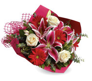 Three of her favourite's....Hot pink Orientals, Roses and Hot pink Gerbera's. Gorgeous!!